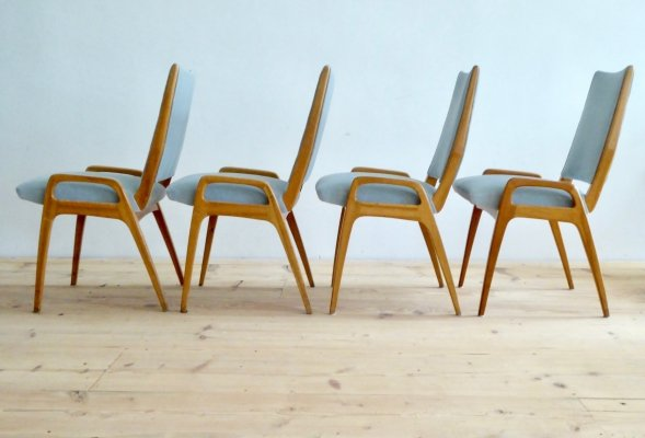 Set of 4 Mid-Century German Dining Chairs, 1950s