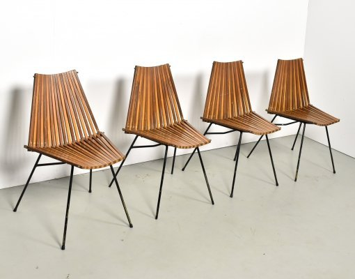 Rare set of 4 'slats' dining chairs by Rohé Noordwolde, 1960s