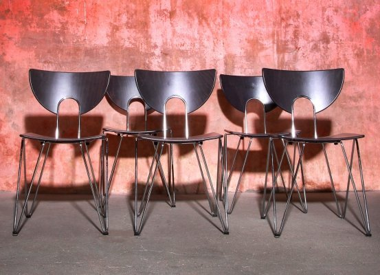 Set of 5 Mikado 1800 Chairs by Walter Leeman for Kusch & Co, 1970s
