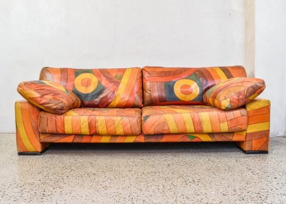 Limited Edition Multicolored Handpainted Sofa, 1980s