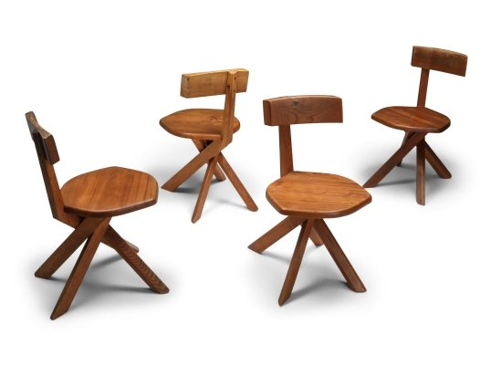 Pierre Chapo 'S34' Dining Chairs in Solid Elm, 1960s