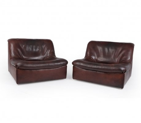 Pair of De Sede DS46 Armchairs in thick Buffalo Leather, c1970