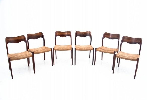 Set of 6 model 75 chairs by Niels O. Møller, Danish design 1960s