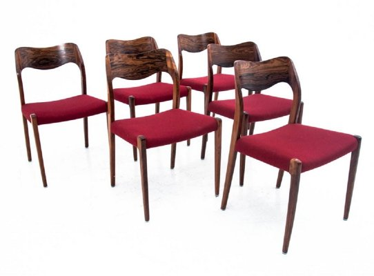 Set of 6 chairs by Niels O. Møller, Denmark 1960s