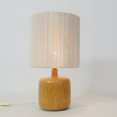 Elm table lamp with a rope shade, 1970s-1980s