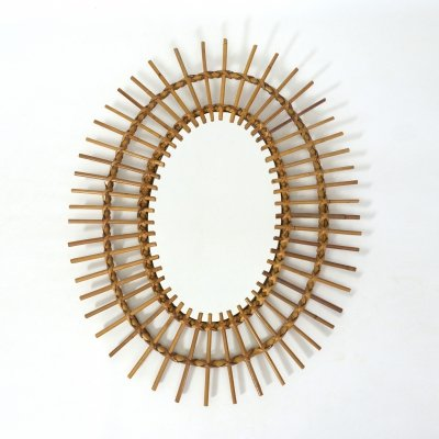 Oval rattan mirror, 1960s-1970s