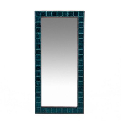Danish mirror with blue tiles, 1960s