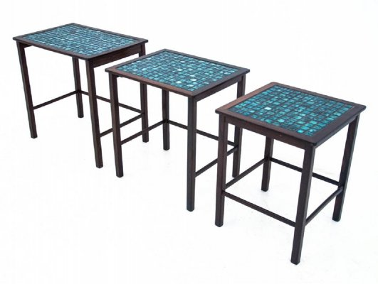 Set of 3 decorative tiled tables, Denmark 1960s