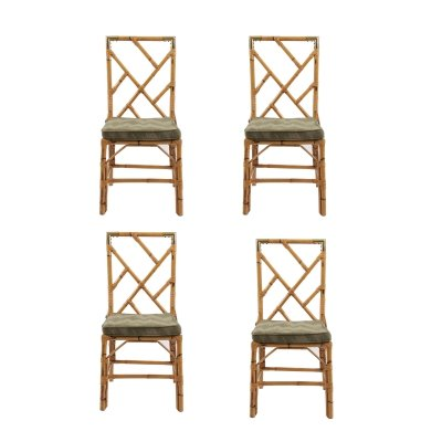Set of 4 Bamboo Dining Chairs With Brass Detail