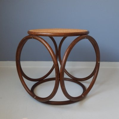 Round Bentwood & Rattan Stool, 1970s