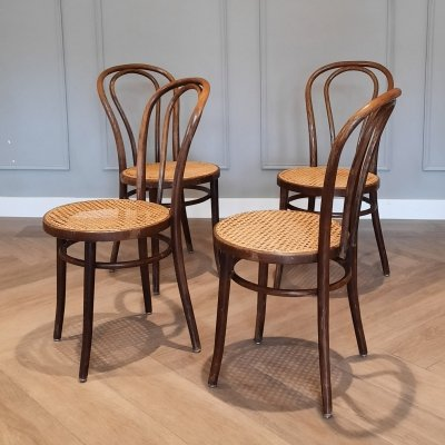 Set of 4 Nr. 18 Bentwood & Rattan Chairs by ZPM Radomsko, 1960s