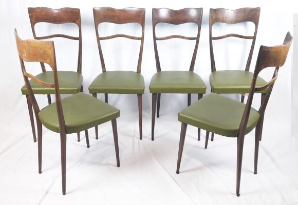Set of Six Italian High-Back Chairs, 1950's