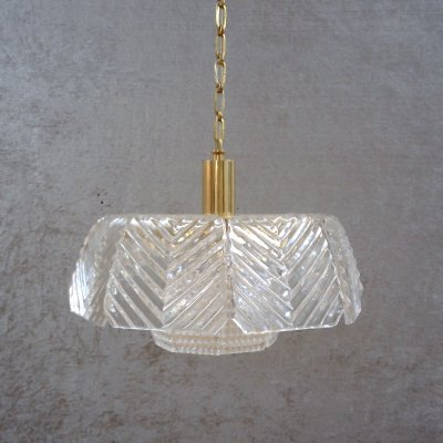 Crystal Glass Pendant Lamp by Carl Fagerlund for Orrefors, Sweden 1960s