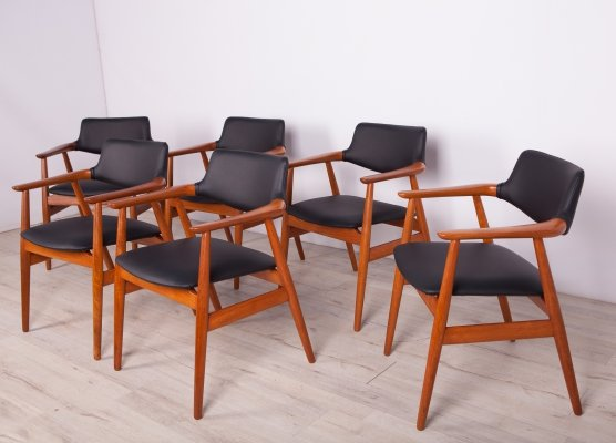 Set of 6 Teak Model GM11 Armchairs by Svend Åge Eriksen for Glostrup, 1950s