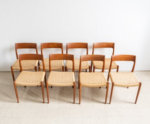 Set of 8 'Model 77' dining chairs by Niels Otto Møller, 1960s