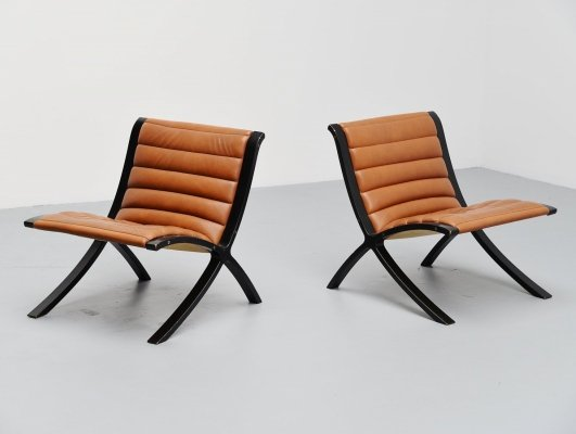 Pair of Peter Hvidt & Orla Molgaard Nielsen X-Chairs for Fritz Hansen, 1979