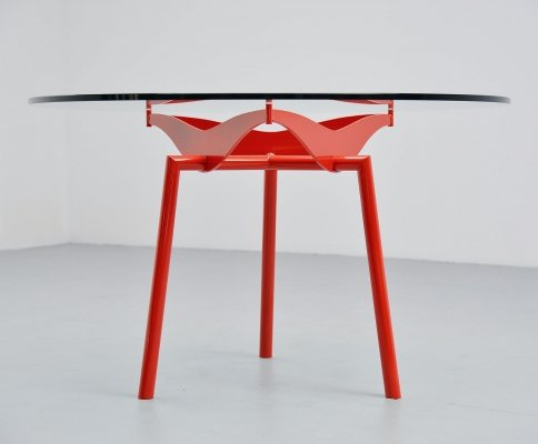 Industrial round dining table, 1960
