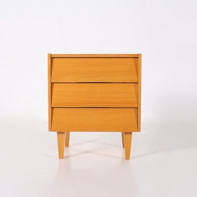 Cherrywood bedside chest of drawers, 1960's