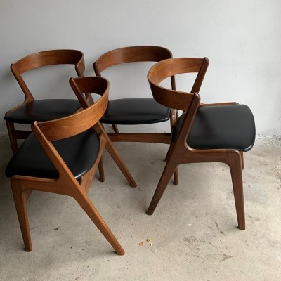 Set of 4 Danish 'Fire' Armchairs by Kai Kristiansen for Schou Andersen, 1960s