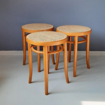 Set of 3 Bentwood Stools with Rattan Seat, Romania 1960s