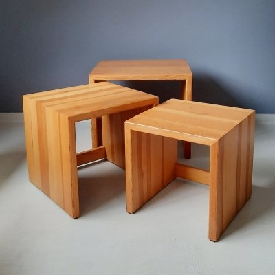Set of 3 Pine Side Tables, 1970s