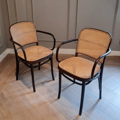 Set of 2 Black Prague or 811 Chairs from FMG, 1960s