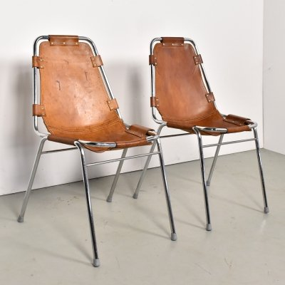 Set of 2 Les Arcs chairs selected by Charlotte Perriand, 1960s