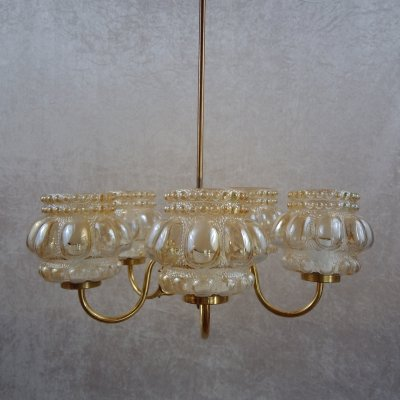 Bubble Glass & Brass Chandelier by Helena Tynell