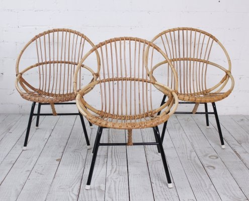 Set of 3 Bamboo Lounge Chairs, 1960s