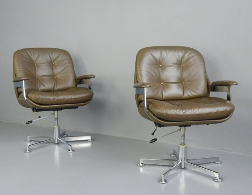Leather Executive Chairs by Ring Mobelfabrikk, Circa 1970s