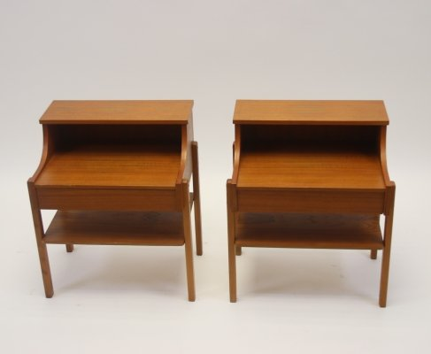 Scandinavian bedside tables in teak by Ab Carlstrom & Co, 1960s