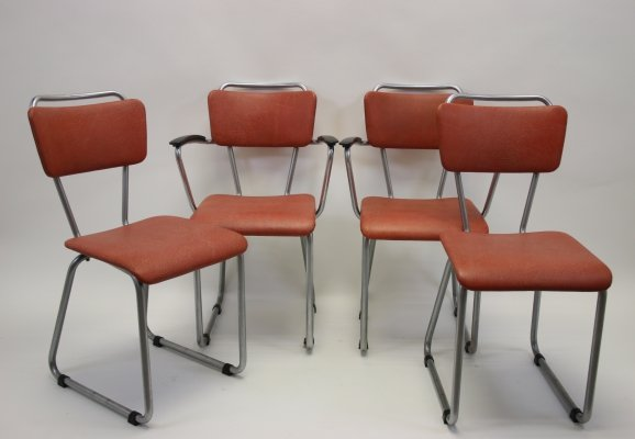 Gispen tubular frame 'Model 114 en 214' dining room chairs by Christoffel Hoffmann, 1950s