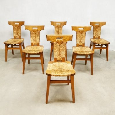 Set of 6 Brutalist midcentury vintage dining chairs by Gennep by Smeets, 1950s