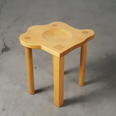 Postmodern stool in solid pine by E. R. A. Herbst, 1990s