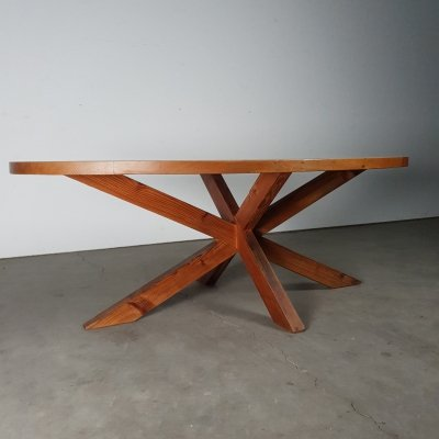 Large custom made dining table in solid pine, 1970s