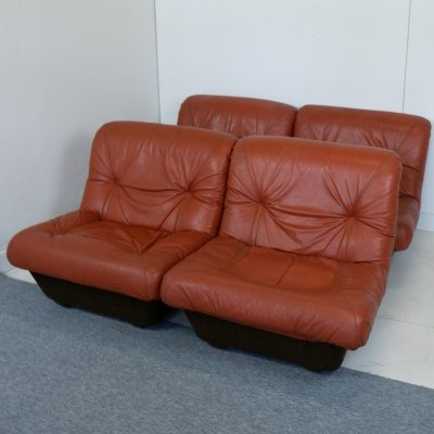 Lev&Lev red leather seating group, 1970s
