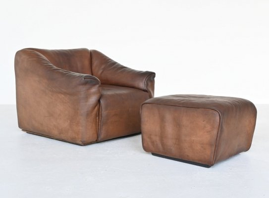 Brown buffalo leather De Sede DS47 armchair with ottoman, Switzerland 1970