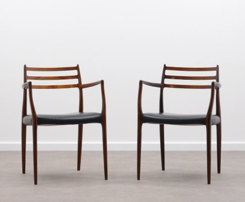 Pair of Rosewood 'Model 62' chairs by Niels Otto Møller for JL Møllers Møbelfabrik, 1960's