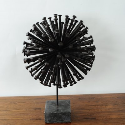 Iron bronzed nail sculpture, 1970s
