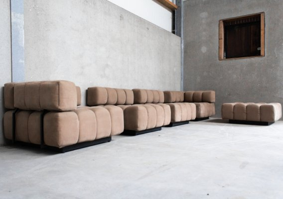 Tufted Modular Sofa in Taupe, 1970s