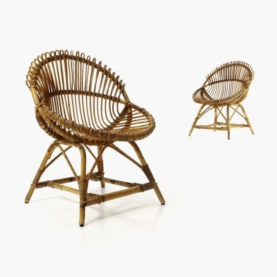 Pair of rattan armchairs, 1950s