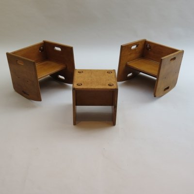 1950s Vintage Wooden Childs Chair Table Set
