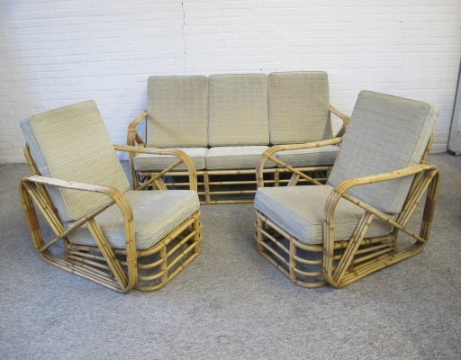 Vintage Rattan bamboo Lounge seating group by Paul Frankl, 1950s