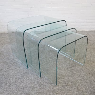 Vintage glass Fiam Italy nesting tables, 1980s