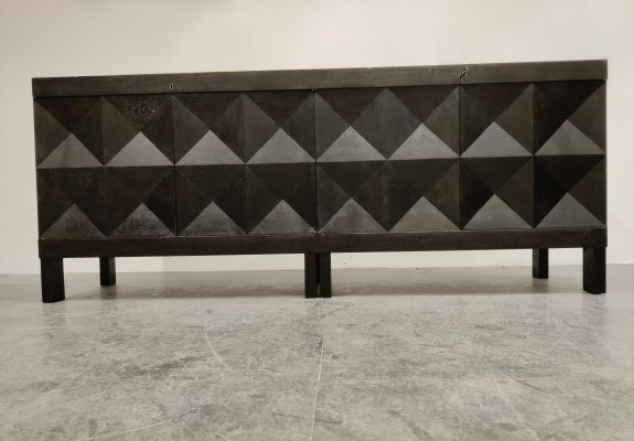 Graphical brutalist credenza by De Coene, 1970s