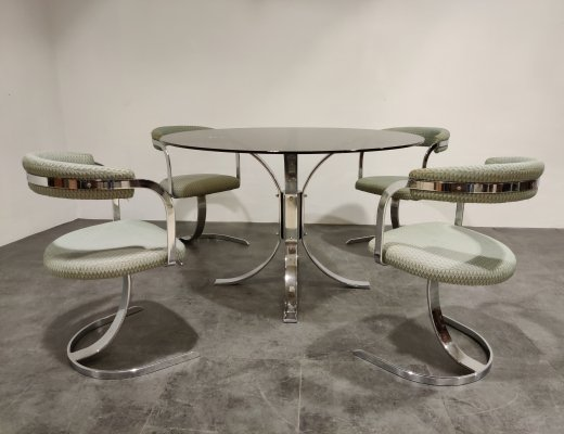 Mid century chrome dining chairs & table, 1970s