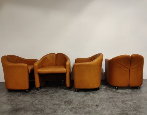 Set of 4 'PS142' Easychairs by Eugenio Gerlio for Tecno, 1960s