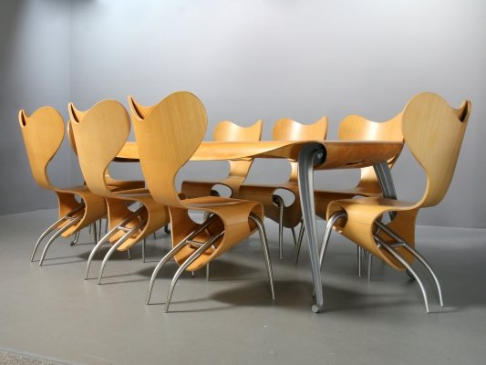 Set of 8x Empty Chair & Fly Ply Table by Ron Arad for Driade, 1990s