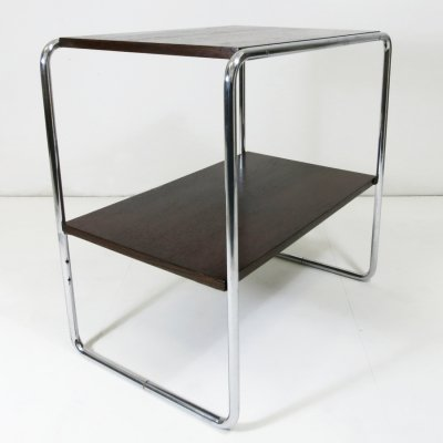 Console table with chrome frame & dark brown wood shelves, 1950s