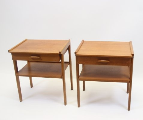 Pair of Danish vintage bedside tables with drawer, 1960s